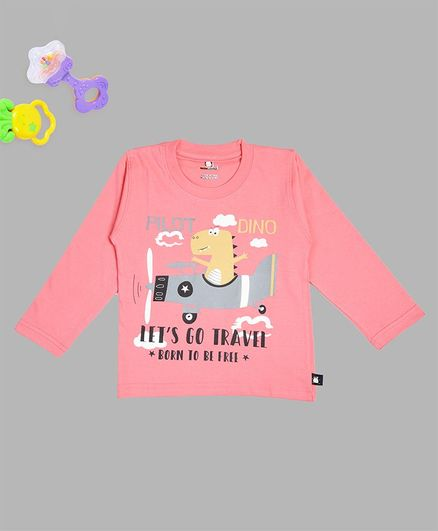 Crazy Penguin Dinosaur Printed Full Sleeves Tee - Light Pink