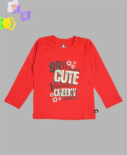 Crazy Penguin Full Sleeves Cute Cheeky Printed Tee - Red