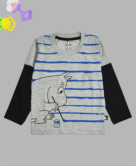 Crazy Penguin Full Sleeves Striped Tee - Grey