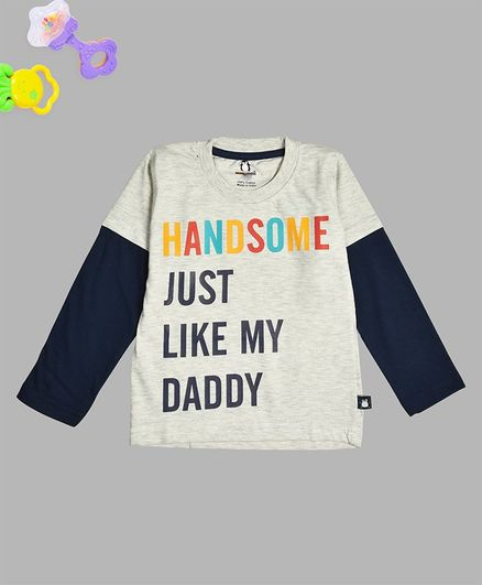 Crazy Penguin Full Sleeves Handsome Just Like Daddy Printed Tee - Grey