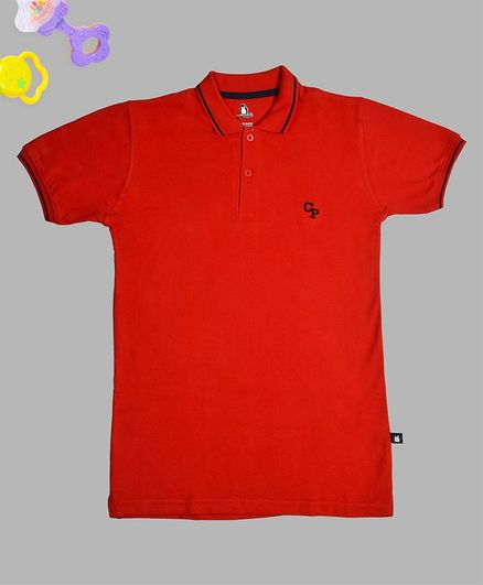 Crazy Penguin Solid Half Sleeves Polo T-Shirt - Red