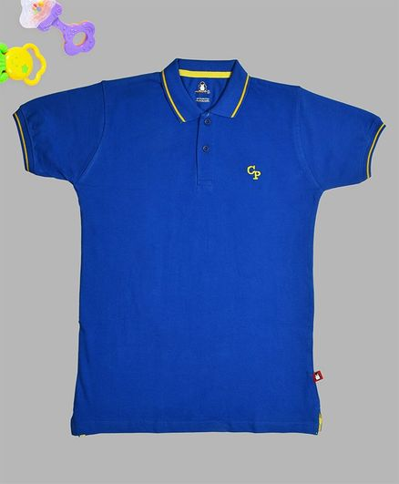 Crazy Penguin Solid Half Sleeves Polo T-Shirt - Blue