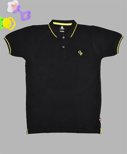 Crazy Penguin Solid Half Sleeves Polo T-Shirt - Black