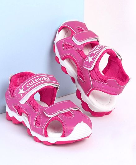 Cute Walk by Babyhug Closed Toe Sandals - Fuchsia