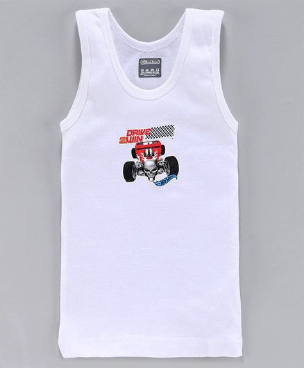 Red Rose Sleeveless Vest Hot Wheels Print - White