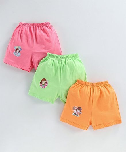 Simply Shorts Doll Print Pack of 3 - Pink Beige Orange
