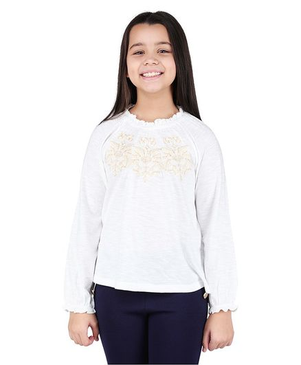 One Friday Full Sleeves Floral Embroidered Top - White