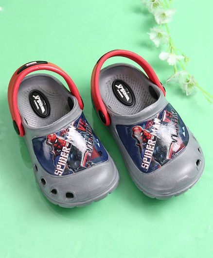 Cute Walk by Babyhug Spider Man Clogs with Back Strap - Grey