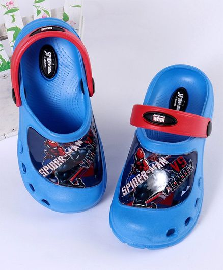 Cute Walk by Babyhug Spider-Man Clogs with Back Strap - Blue