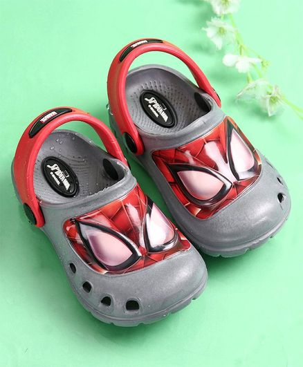 Cute Walk by Babyhug Clogs Spider Man Print - Grey
