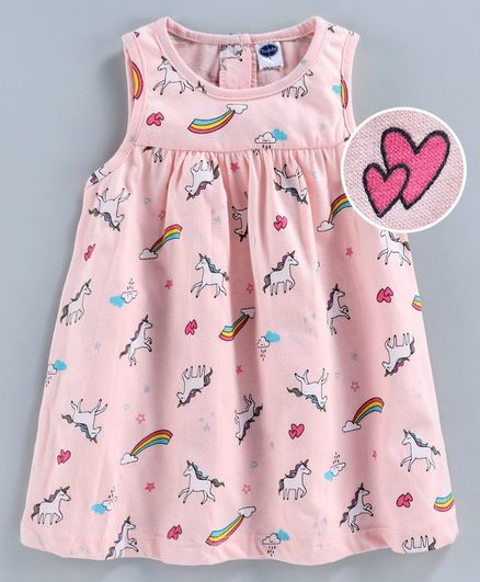 Teddy Sleeveless Frock Heart Print - Pink