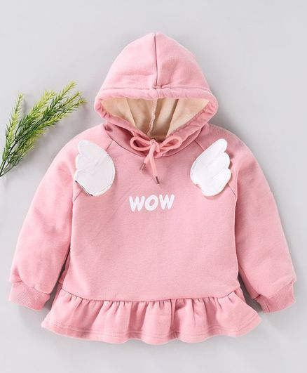 Kookie Kids Full Sleeves Hooded Sweatshirt Wow Print - Pink