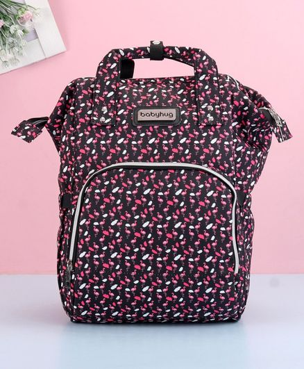 Babyhug Diaper Bag Black Flamingo Print - Maroon