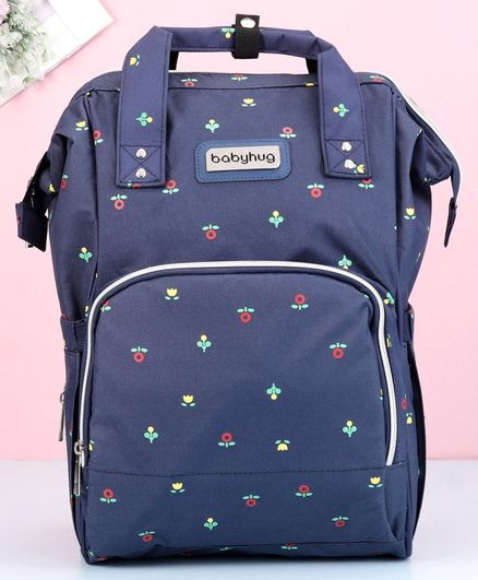 Babyhug Diaper Bag Floral Print - Dark Blue