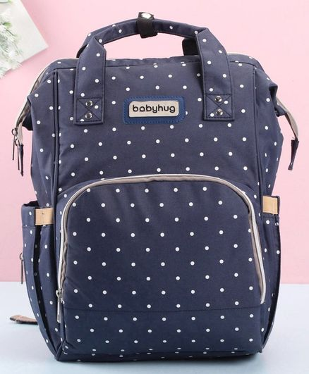 Babyhug Diaper Backpack Polka Dot Print - Navy Blue