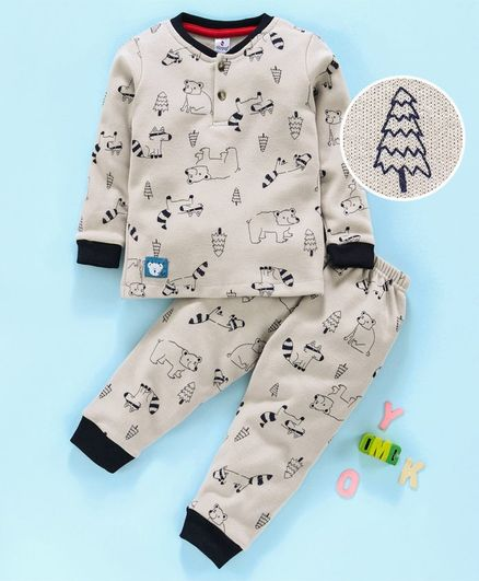 Ollypop Full Sleeves Winter Wear Night Suit Polar Bear Print - Grey