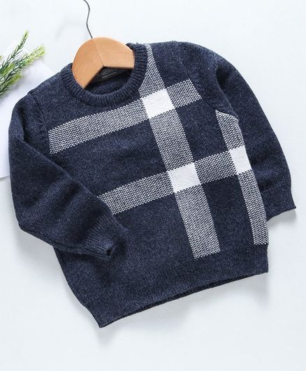 Kookie Kids Full Sleeves Sweater - Navy Blue