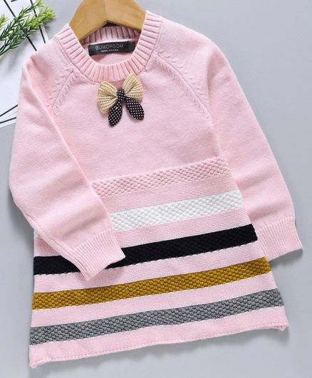 Kookie Kids Winter Wear Full Sleeves Striped Frock Bow Applique - Pink