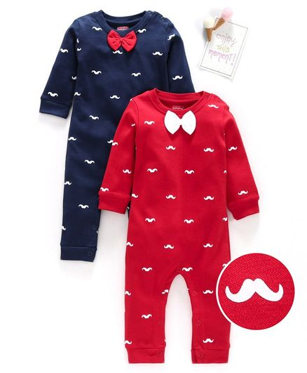 Babyhug 100% Cotton Full Sleeves Romper Moustache Print Pack of 2 - Red Navy Blue