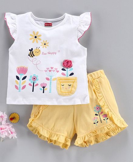 Babyhug Flutter Sleeves Top & Shorts Set Floral Print - White Yellow