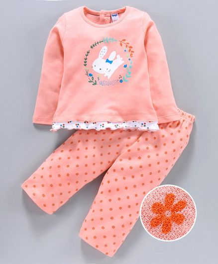 Tango Full Sleeves Full Sleeves Top & Lounge Pant Rabbit Print - Peach