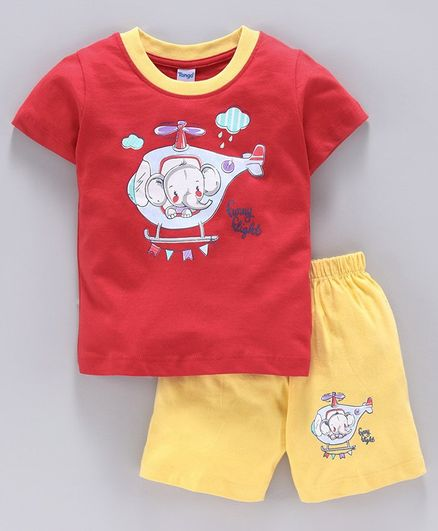 Tango Half Sleeves Tee & Shorts Set Helicopter Print - Red Yellow