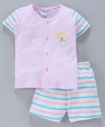 Tango Half Sleeves Striped Tee & Shorts Bear Print - Pink