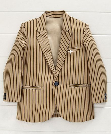 Dapper Dudes Striped Full Sleeves Blazer - Cream