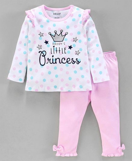 Babyoye Full Sleeves Top & Bottom Set Crown Print - Pink White