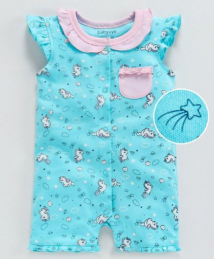 Babyoye Flutter Sleeves Cotton Romper Unicorn Print - Teal Blue