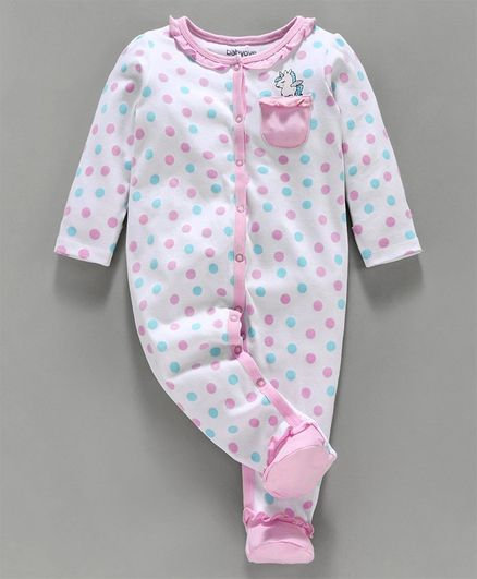 Babyoye Cotton Full Sleeves Sleepsuit Unicorn Print - White