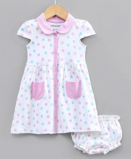 Babyoye Cotton Cap Sleeves Frock with Bloomer Polka Dot Print - White