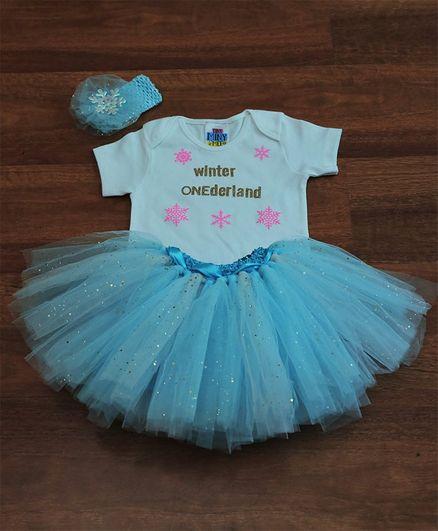 TINY MINY MEE Snowflakes Printed Half Sleeves Onesie With Tutu Skirt & Bow Headband - White & Blue