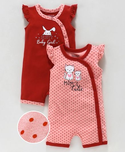 Babyoye Flutter Sleeves Printed Cotton Rompers Pack of 2 -Red Pink
