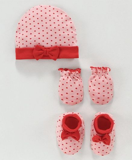 Babyoye Cotton Cap Mittens & Booties Set Dots Print - Light Red