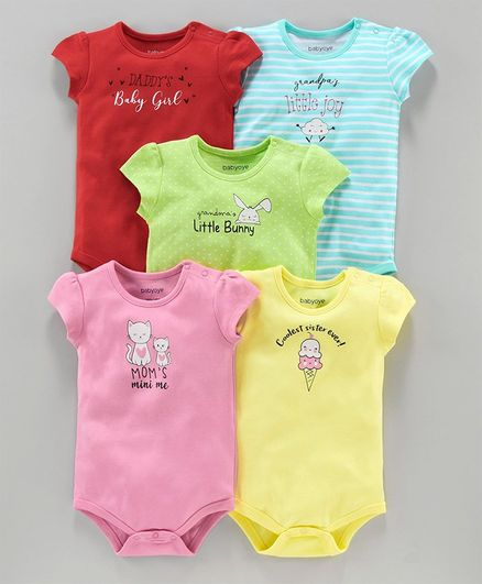 Babyoye Cotton Onesie Text Print Pack of 5 - Red Green