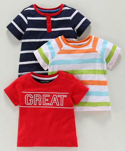 Babyoye Half Sleeves Cotton Tee Multi Print Pack of 3 - Blue Red