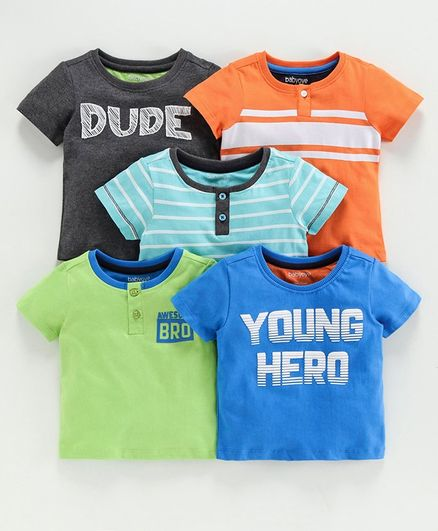Babyoye Half Sleeves Cotton Tees Pack of 5 - Multicolour