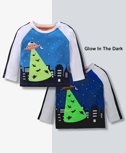 Babyoye Full Sleeves Cotton Glow In Dark Tee Spaceship Print - Blue Grey