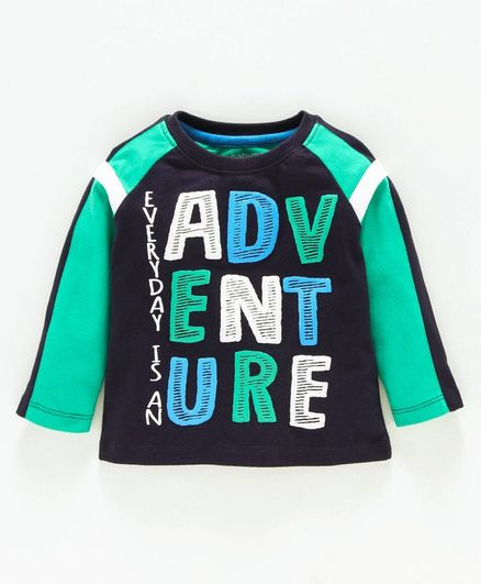 Babyoye Full Sleeves Cotton Tee Adventure Print - Navy Blue