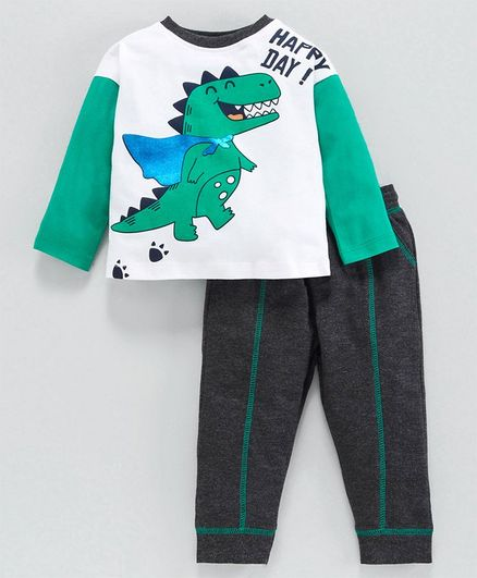 Babyoye Full Sleeves Dino Print T-shirt & Bottom Set - Green White Grey