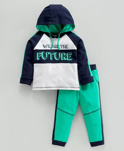 Babyoye Full Sleeves Hooded Tee & Lounge Pant Text Print - Black Green Navy White