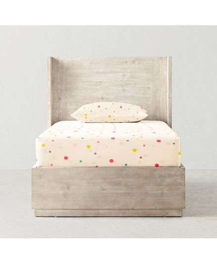 The Baby Atelier 100% Organic Cotton Fitted Single Bed Sheet Polka Dot Print - Cream