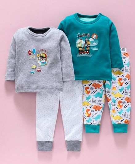 Kidi Wav Bear Printed Full Sleeves Set Of 2 T-Shirt & 2 Pants - Grey Green & White