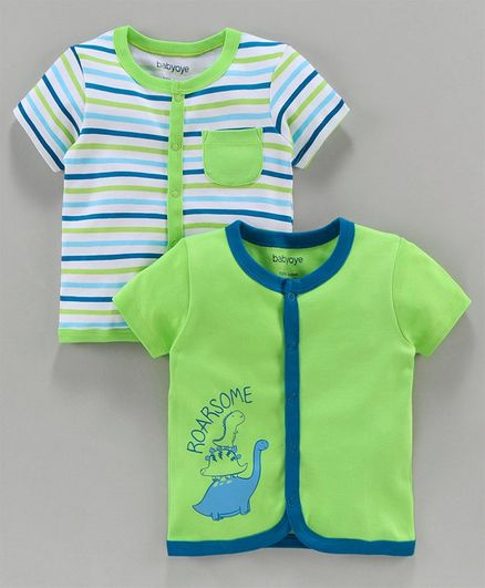 Babyoye Half Sleeves Cotton Jhabla Vests Printed & Striped Pack of 2 - Green