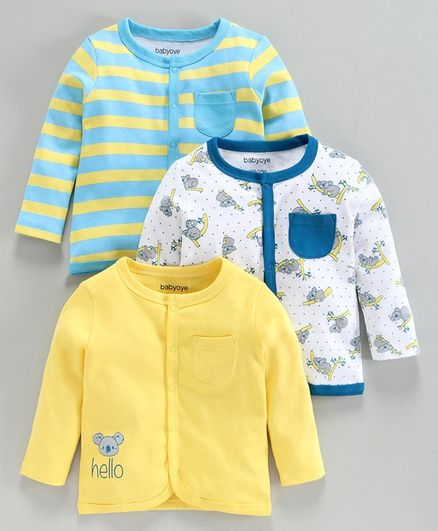 Babyoye Cotton Full Sleeves Printed & Striped Jhabla Vest Pack of 3 - Yellow Blue White