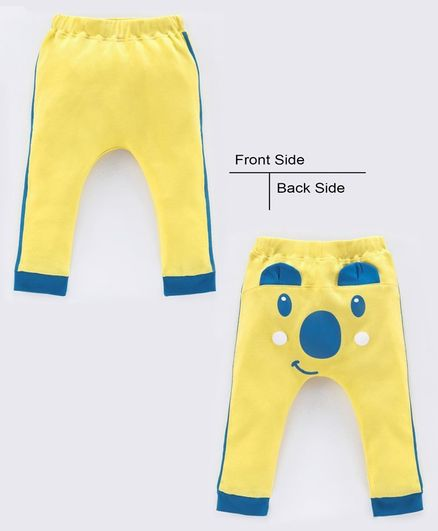Babyoye Cotton Full Length Lounge Pant with 3D Ears - Yellow