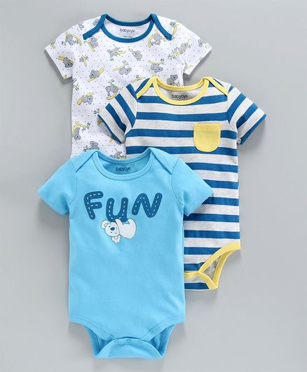 Babyoye Half Sleeves Cotton Onesies Stripes & Multi Print Pack of 3 - Yellow White Blue