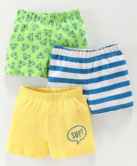 Babyoye Cotton Shorts Koala Print Pack of 3 - Yellow Blue Green