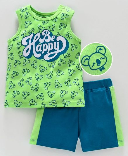 Babyoye Sleeveless Tee and Shorts Be Happy Print - Green Blue